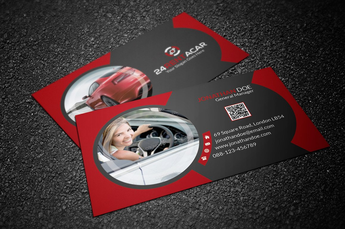 Rent a car business card business card templates creative market rent a car business card magicingreecefo Gallery