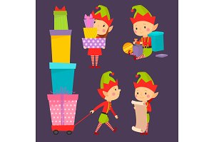 Santa Claus kids cartoon elf helpers vector illustration children characters traditional costume