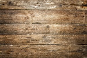 Scratched wooden texture, background with copy space. Banner