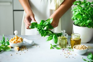 Woman in oversize dress holding pot with fresh organic basil, white kitchen interior design. Copy space. Lifestyle concept