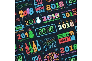 2018 New Year calendar Christmass logo text Holiday calendar print colored Xmas text design newborn party illustration seamless pattern background