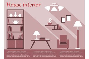 House interior infographic in flat s