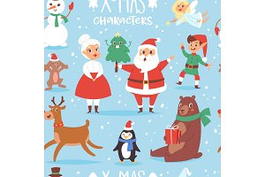 Christmas vector characters cute cartoon Santa Claus, snowman, Reindeer, Xmas bear, Santa wife, dog New Year symbol, elf child boy and penguin individual characteristics seamless pattern background