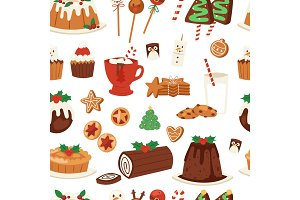 Christmas food vector desserts holiday decoration xmas family diner sweet celebration meal illustration. Traditional festive winter cake homemade x-mas seamless pattern background