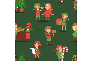 Christmas elfs kids vector children Santa Claus helpers cartoon elfish boys and girls young characters traditional costume celebrated seamless pattern background