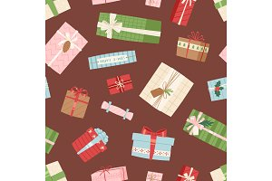 Gift box vector present packs Christmas or Birthday flat illustration celebration bow object seamless, pattern, background