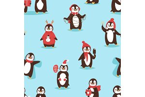 Christmas cute penguin vector character cartoon bird celebrate Xmas poses - play, walc, fly and happy penguin face smile in Santa red hat seamless pattern background