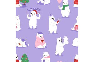 Christmas white bear vector animal cute beauty character funny style different poses celebrate Xmas holiday or New Year time big bear animal seamless pattern background