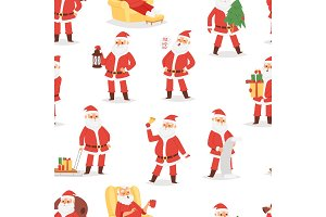 Christmas Santa Claus vector character poses illustration Xmas man in red traditional costume and Santa hat seamless pattern background