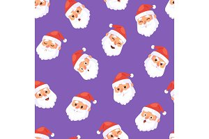 Christmas Santa Claus head emotion faces vector expression character poses illustration emojji Xmas man red traditional costume and Santa hat on head seamless pattern background