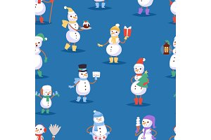 Snowman cute cartoon winter christmas character man holiday merry xmas snow boys and girls vector illustration seamless pattern background