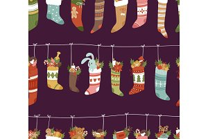 Christmas socks vector Santa Xmas New Year gift traditional Christians symbol sey illustration different textile design food clothes seamless pattern background