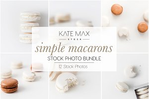 White Macarons Stock Photo Bundle