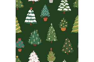 Christmas New Year tree vector icons ornament star xmas gift design holiday celebration winter season party tree plant seamless, pattern, background