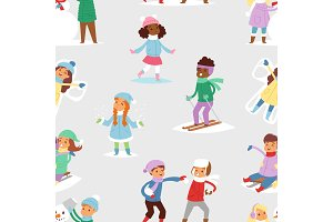 Winter Christmas kids playing games outdoor street playground children wintertime kids playing sport games of kinds snowball, skating seamless pattern background