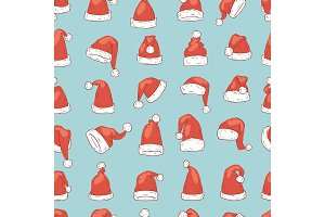 Christmas Santa Claus hat vector noel isolated illustration New Year Christians Xmas party design decoration hats seamless pattern background