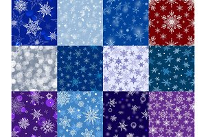 Snowflakes vector icons frozen frost star Christmas decoration snow winter flakes elemets Xmas holiday design illustartion seamless patetrn