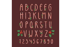 Christmas font candy cane vector type alphabet New Year card print design font characters and numbers for invinattion design Xmas design