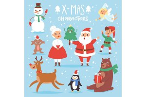Christmas vector characters cute cartoon Santa Claus, snowman, Reindeer, Xmas bear, Santa wife, dog New Year symbol, elf child boy and penguin individual characteristics illustration