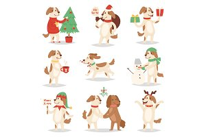 Christmas dog vector cute cartoon puppy characters illustration couple pets doggy different Xmas celebrate poses in Santa Red Hat