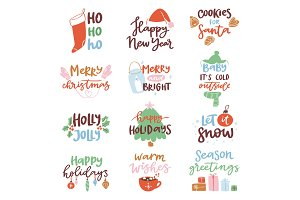 2018 happy New Year text logo badge lettering holiday calendar print design Merry Christmas newborn party illustration