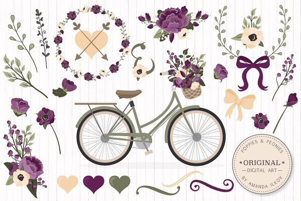 Deep Plum Floral Bicycle Vectors