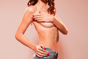 one young beautiful woman nude
