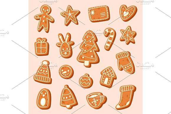 Christmas cake vector sweet desserts food traditional cakes for Xmas dinner and teatime - tree, deer, cakeman, bell, house, sock and penguin illustration
