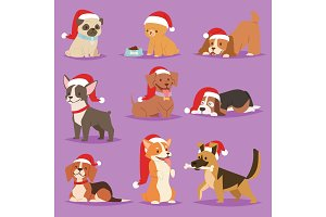 Christmas dog vector cute cartoon puppy characters illustration home pets doggy different Xmas celebrate poses in Santa Red Hat