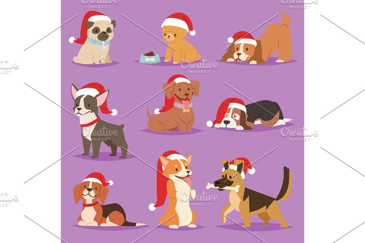 16592ff465 Christmas dog vector cute cartoon puppy characters illustration home ...