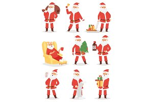 Christmas Santa Claus vector character poses illustration Xmas man in red traditional costume and Santa hat