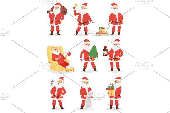 Christmas Santa Claus vector character poses illustration Xmas man in red traditional costume and Santa hat