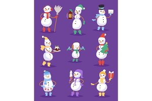 Snowman cute cartoon winter christmas character man holiday merry xmas snow boys and girls vector illustration