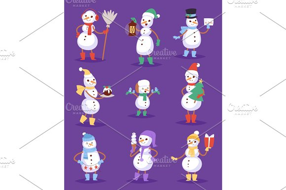 Snowman cute cartoon winter christmas character man holiday merry ...
