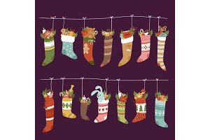 Christmas socks vector Santa Xmas New Year gift traditional Christians symbol sey illustration different textile design food clothes