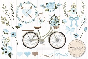 Soft Blue Vector Bicycle & Flowers