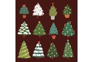Christmas New Year tree vector icons ornament star xmas gift design holiday celebration winter season party tree plant.
