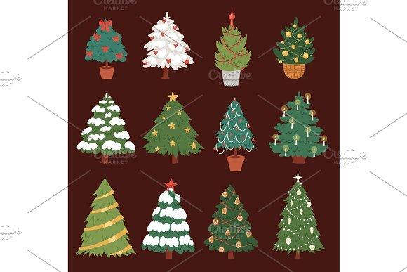 Christmas New Year tree vector icons ornament star xmas gift design holiday celebration winter season party tree plant.