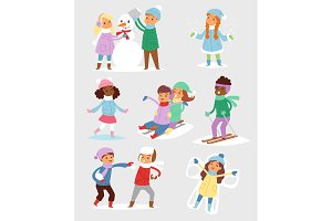 Winter Christmas vector kids playing games outdoor street playground children wintertime kids playing sport games of kinds snowball, skating