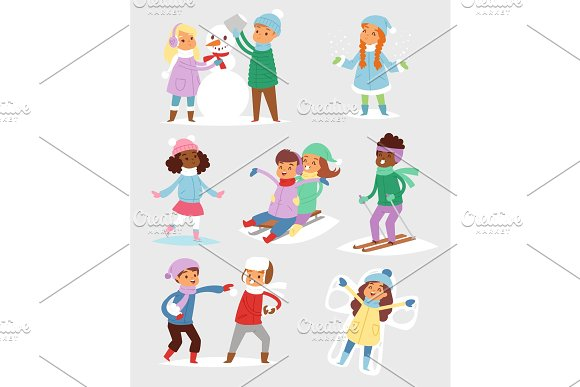 Winter Christmas vector kids playing games outdoor street playground children wintertime kids playing sport games of kinds snowball, skating in Illustrations