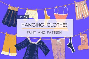 Hanging clothes. Print and patterns.