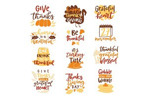 Happy Thanksgiving text logo vector lettering family dinner time together celebrate harvest time to say Thanks to nature