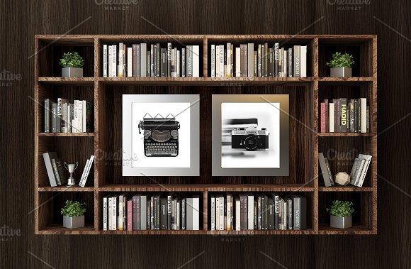 Bookcase Frame Mockup Psd Jpg