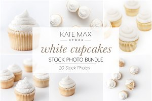 White Cupcakes Stock Photo Bundle