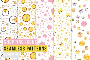 Shopping Icons - Seamles Patterns