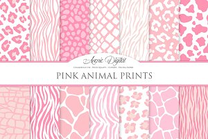 Pink Animal Print Digital Paper