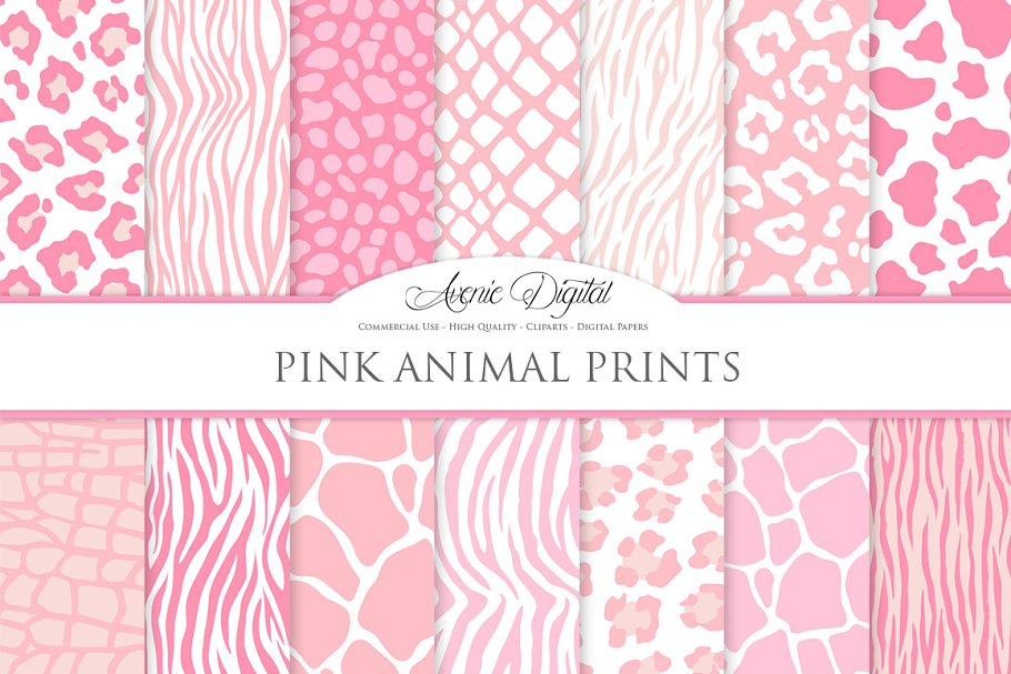 Pink Animal Print Digital Paper ~ Graphic Patterns ~ Creative Market de7661cbb