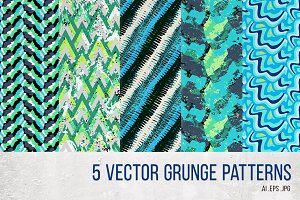 5 Vector green grunge patterns