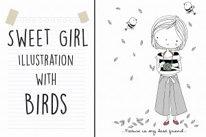 Sweet Girl illustration with Birds