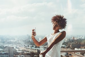 Cute black girl making selfie